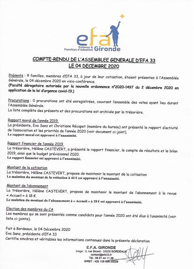 2020-12-04 Compte Rendu AG EFA33 2020